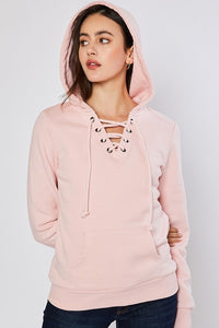 Fleece Lace Up Pullover Hoodie