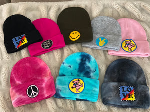 Patches on Tie Dye Beanies