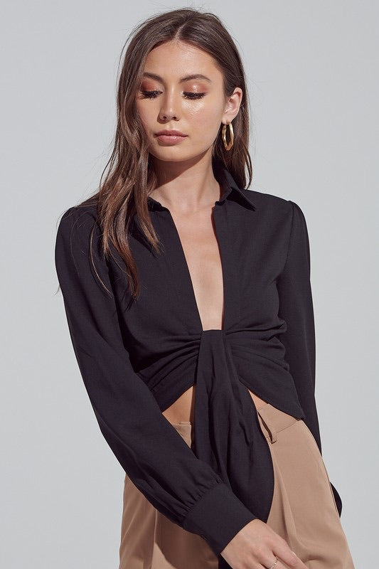 Shirring Plunging Collar Shirt