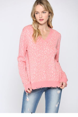 Lightweight Leopard  V Sweater
