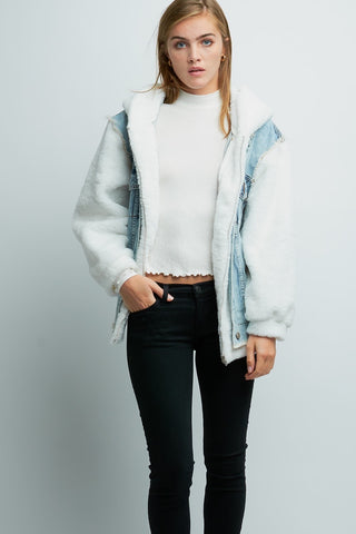 Fur Sleeve Denim Jacket
