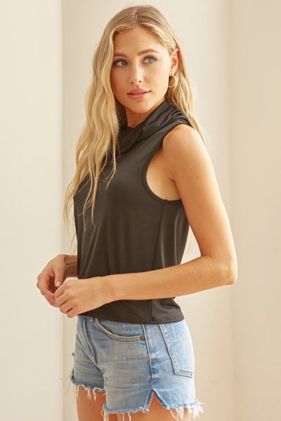 Crop Tank With Cowl Neck Mask