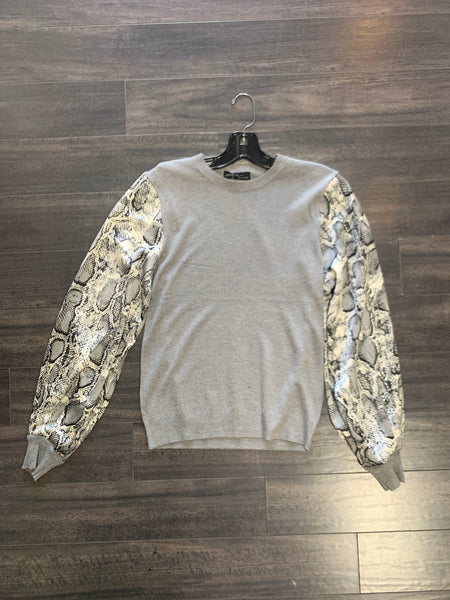 Snake print satin sleeve sweater