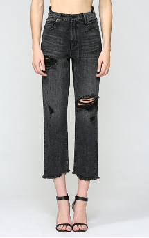 Uneven Crop  Fray Hem