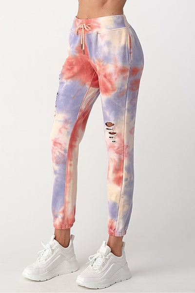 Multi tie-dye cut out french terry jogger