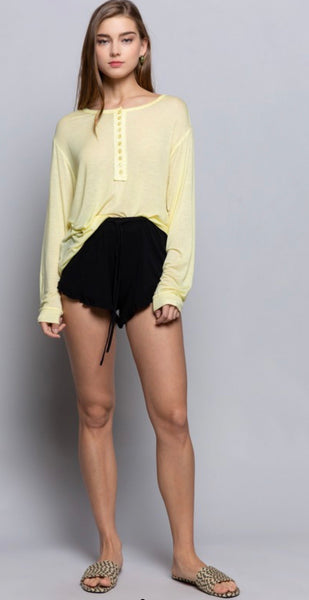 Drawstring Shorts  with Ruffle Trim