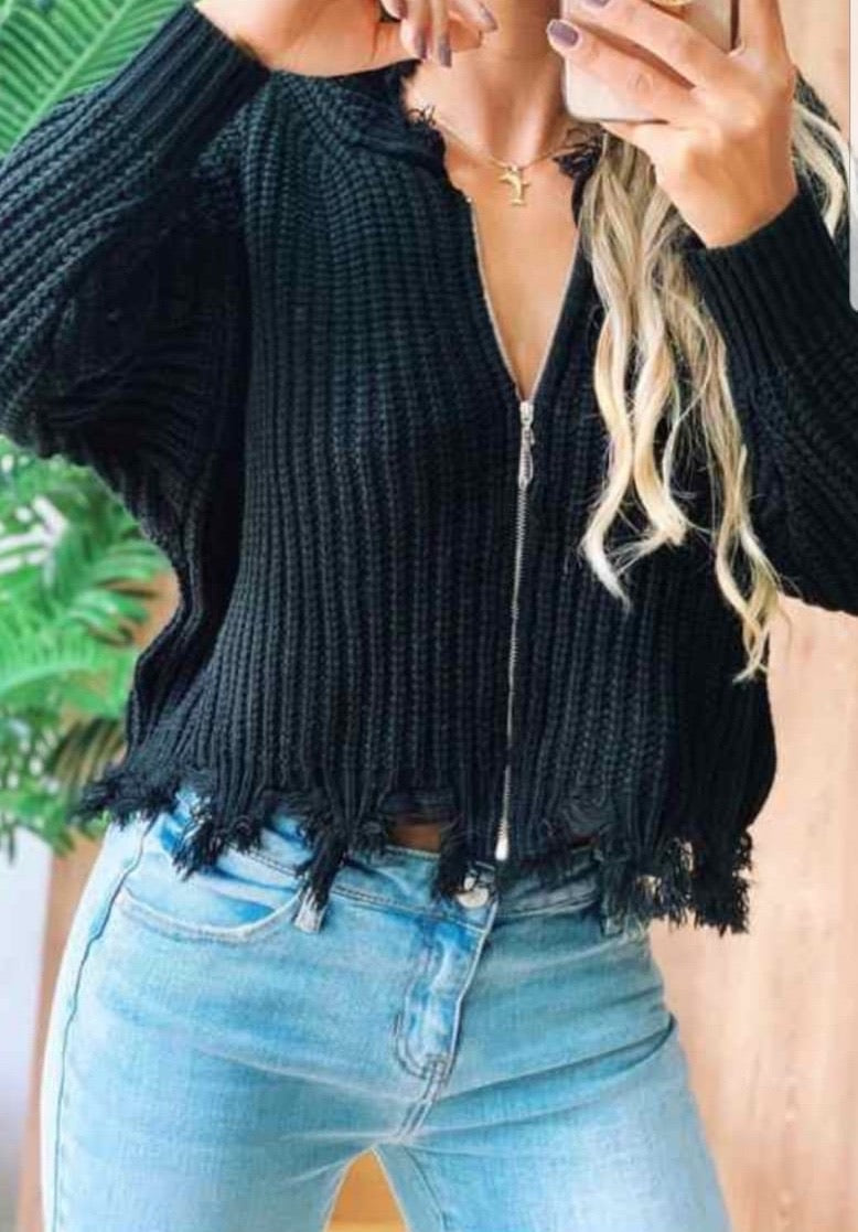 Distressed zip up sweater