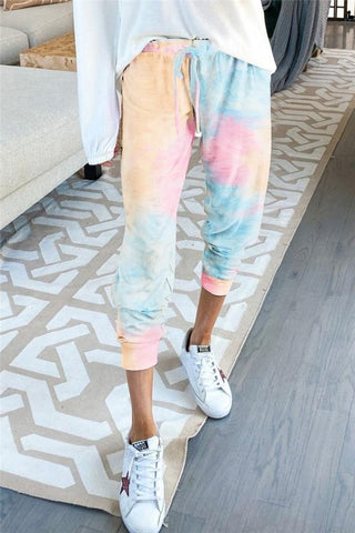 Ruched Bottom Tie Dye Joggers