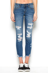 Cropped Distress Skinny
