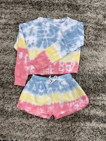 Lisa Tie Dye Crop Sweat Shirt