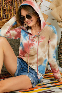 Fall Tie Dye Tie Up Sweat shirt