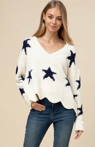 Chenille Star Detail Sweater