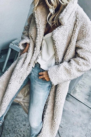 Faux Fur Wide Collar Maxi Coat