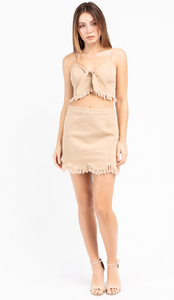 Fringed Scallop Mini Skirt