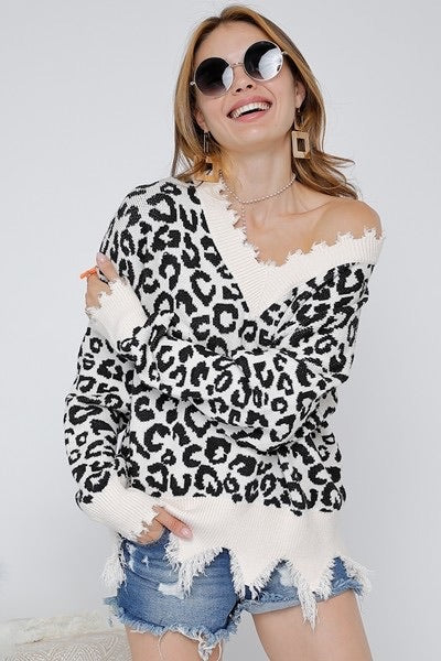 Leopard Ripped V Neck Sweater