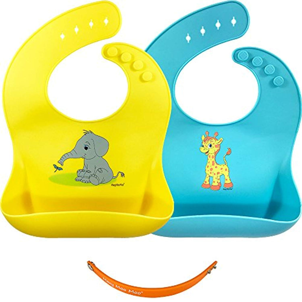 55ae988e4 Silicone Bib Set, 2 Baby Bibs with Travel Strap, Easy Clean Drool Bibs,