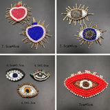Beaded Evil Eye Patch, Sew on Patches, Embroidered Eye applique