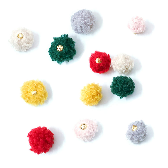 Hair ball with hook, Pom pom charms, DIY handmade jewelry