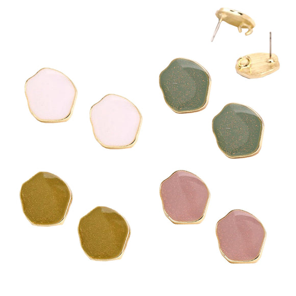 Stud Earrings Colored Brass Plating, Ear Post Connectors Findings