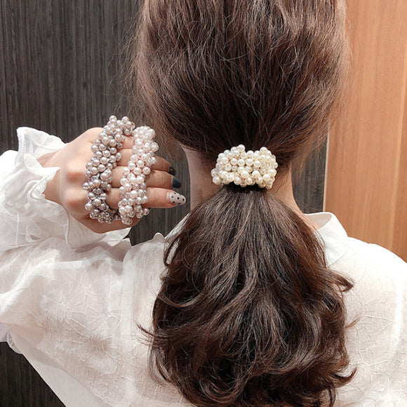 Hair Scrunchie, Pearl Beads Ponytail Holder