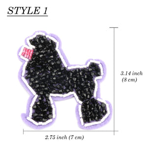 Cartoon Dogs Patch Sequin Applique Beaded, Embroider DIY Patch