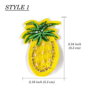 Pineapple Patch Sequin Applique Beaded Rhinestone Fabric, Embroider DIY Patch