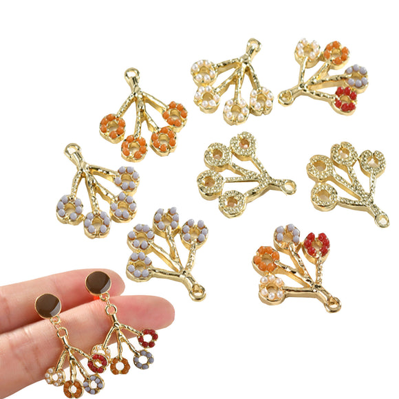 Dangle Flower Earrings, Charm Pendants, Gold plated Brass