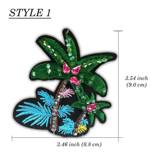 Tropical Patch, Sequin Applique Beaded, Embroider DIY Patch