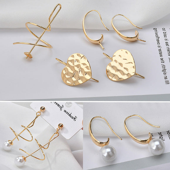 18k Gold Earring, Studs golden plated, Pearl Earrings, Initial Studs