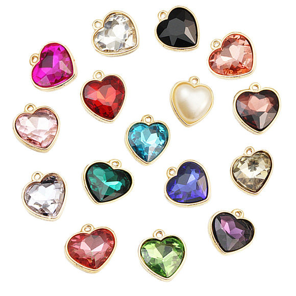 Faceted Heart Beads, Earring Charms, Necklace, Charms, Choker
