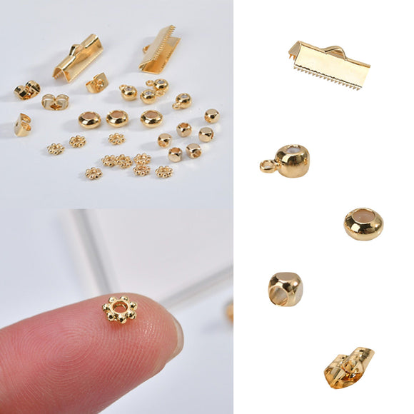 18K gold, Ribbon Clamps, Earring Backs Stopper Bead, Earring Connector