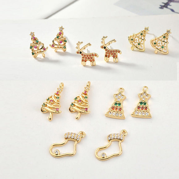 Christmas Earring, Rhinestones Earrings, 18k Gold Stud Earrings