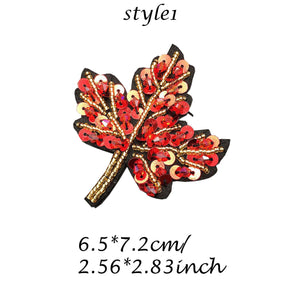 Autumn Patch, Maple Leaf Patch, Cross Beaded Patch, Sew on Applique Clothes