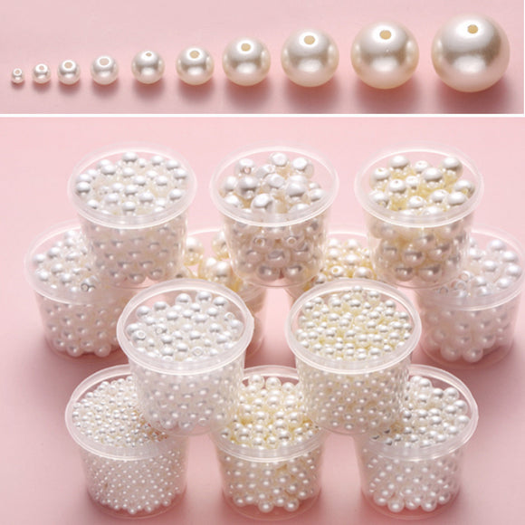 Ivory Shell Pearls, White round pearls, Shell pearl beads