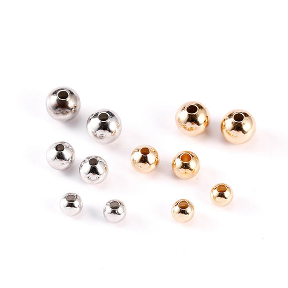 18K Gold Plated Beads, Gold Silver Shiny Beads, 4mm, 5mm, 6mm