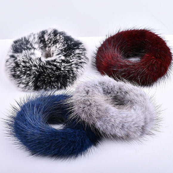 Fur Hair Scrunchie, Mink Ponytail Holder, Fur Wrap Scrunchie
