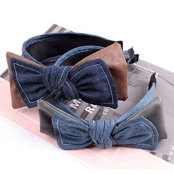 Jeans and Leather Knotted Wide Headbands for Women