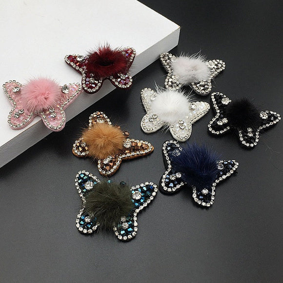 Butterfly Patch Fur Crystal Applique Clothes Decorative Patch