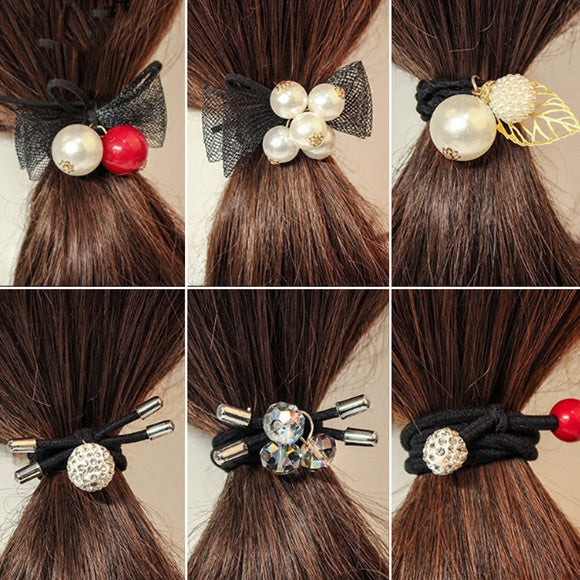 Pearl Ponytail Holder, Hair Cuff Wrap, Tie, Rope, Ring Band