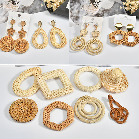 Rattan Pendant, DIY earrings square charms, making earring