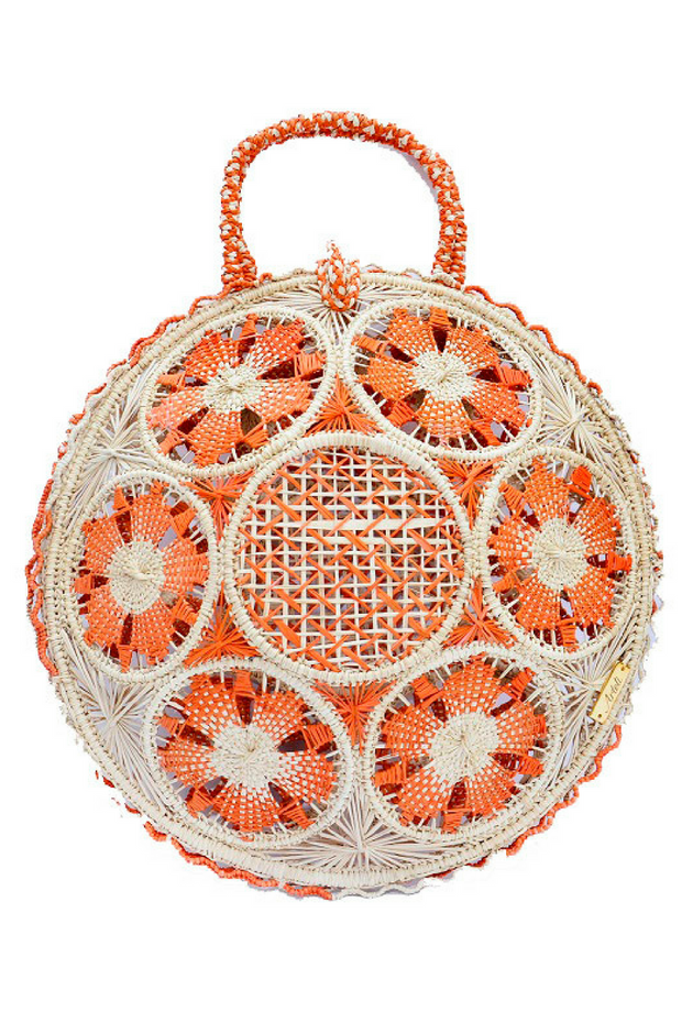 Canasto Round Tote in Orange and Beige