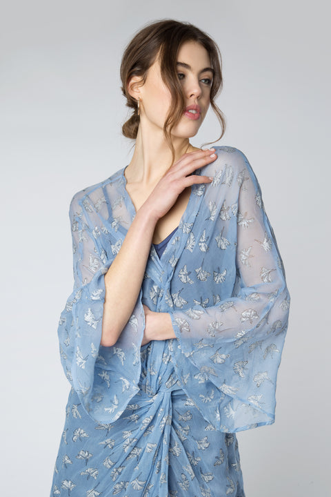 Gingko Leaf Twisted Kimono Dress in Ice Blue + Silver