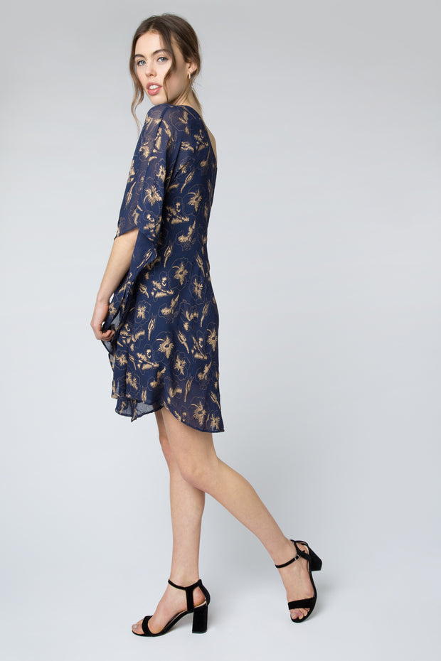 Hibiscus Flower One Shoulder Dress in Navy + Gold