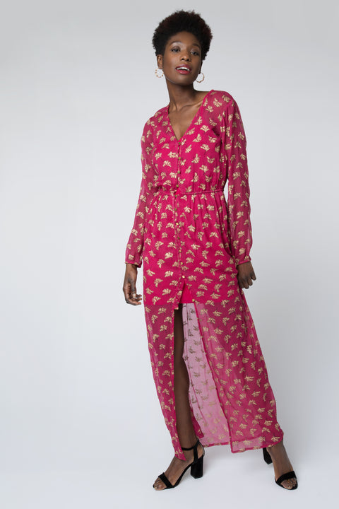 Ginkgo Leaf Maxi Button Down Dress in Magenta