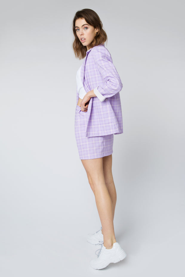 Yelina Lavender Plaid Mini Skirt