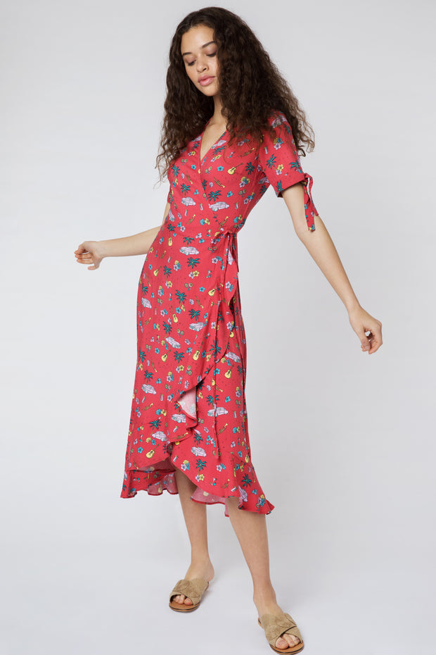 Jackie Havana Red Midi Dress