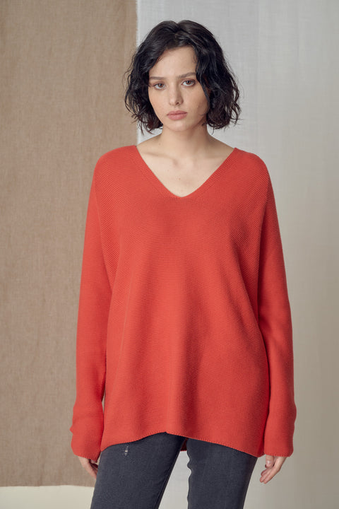 Faarina Knit Top in Red