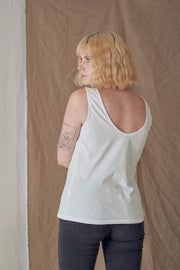Scoop Back Tank in White