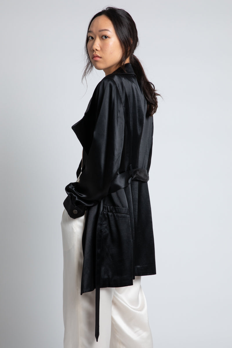 Vintage Black Satin Trench Coat