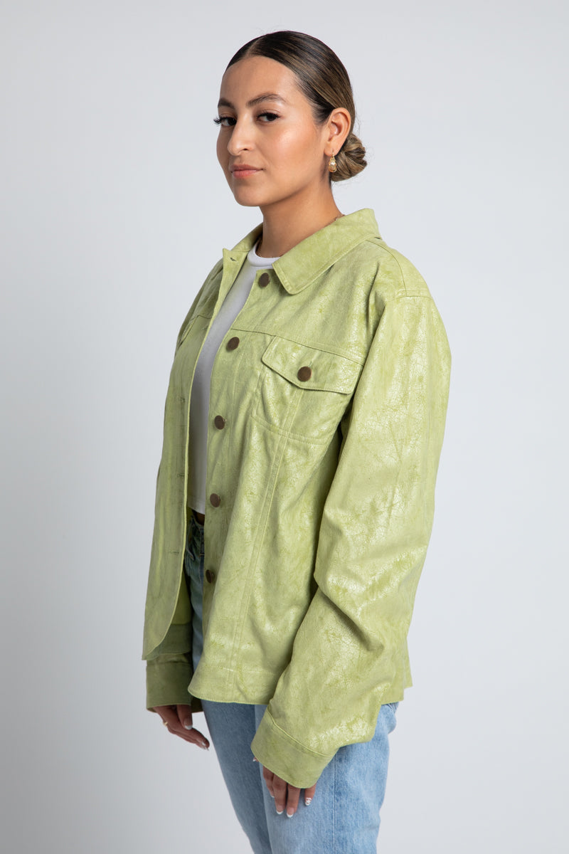 Vintage Lime Faux Suede Jacket